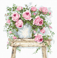 Flowers on a Stool on Aida Cross Stitch Kit By Luca S