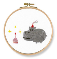 Birthday! Hippo Printed Embroidery Kit By DMC