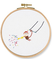 Trumpet! Monkey Printed Embroidery Kit By DMC