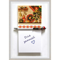 MAGNET WITH NOTEBOOK KHOKHLOMA Cross Stitch Kit by Oven