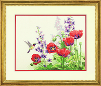 Counted Cross Stitch: Hummingbird and Poppies By Dimensions