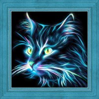 Neon Cat Diamond Painting Kit
