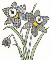 Blackwork Daffodils Kit By Bothy Threads