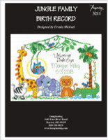 Jungle Family Birth Record Cross Stitch Pattern