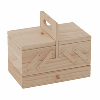 Wood Cantilever Sewing Box: 3 Tier with Drawer