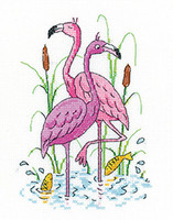 Flamingos Cross Stitch Kit By Heritage Crafts