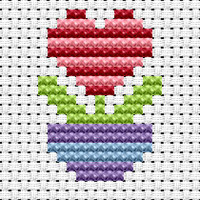 Easy Peasy Flower Heart Cross Stitch Kit by Fat cat