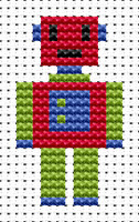 Easy Peasy Robot Cross Stitch Kit by Fat cat