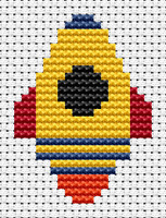 Easy Peasy Rocket Cross Stitch Kit by Fat cat