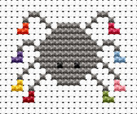 Easy Peasy spider Cross Stitch Kit by Fat cat
