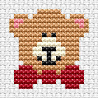 Easy Peasy Teddy Cross Stitch Kit by Fat cat