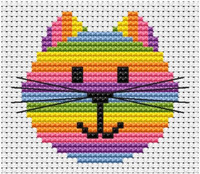 Sew simple cat head Cross Stitch Kit by Fat cat