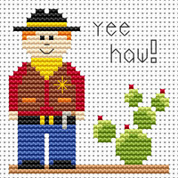 sew simple cowgirl Cross Stitch Kit by Fat cat
