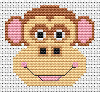 Sew simple Monkey Cross Stitch Kit by Fat cat