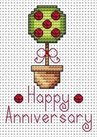 Anniversary Topiary card kit Cross Stitch Kit by Fat cat
