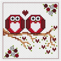 Anniversary Twitts card kit Cross Stitch Kit by Fat cat