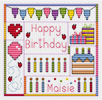 Birthday Delights card kit Cross Stitch Kit by Fat cat