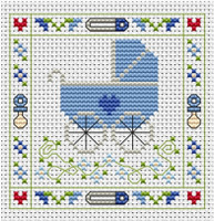 Blue Pram card kit Cross Stitch Kit by Fat cat