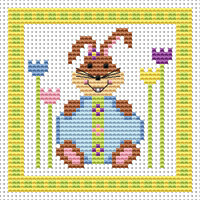 Bunny Blue Egg card kit Cross Stitch Kit by Fat cat