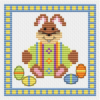 Bunny Green Egg card kit Cross Stitch Kit by Fat cat
