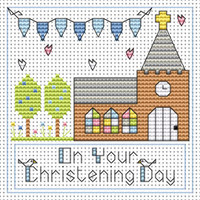Christening day boy card kit Cross Stitch Kit by Fat cat