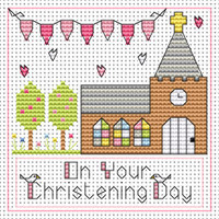Christening day girl card kit Cross Stitch Kit by Fat cat