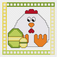 Easter Chicken card kit Cross Stitch Kit by Fat Cat