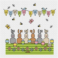 Egg Bunnies card kit Cross Stitch Kit by Fat cat