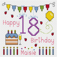 18th Birthday Bunting card kit Cross Stitch Kit by Fat cat