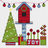 Funky Christmas birdhouse card kit Cross Stitch Kit by Fat cat