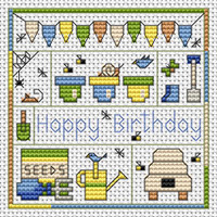 Garden Birthday card kit Cross Stitch Kit by Fat cat
