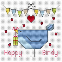Happy Birdy card kit Cross Stitch Kit by Fat cat