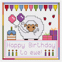 Happy Birthday to Ewe card kit Cross Stitch Kit by Fat cat