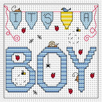 Its a Boy card kit Cross Stitch Kit by Fat cat