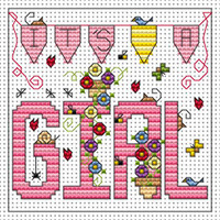 Its a Girl card kit Cross Stitch Kit by Fat cat