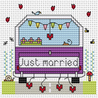Just married Campervan card Cross Stitch Kit by Fat cat