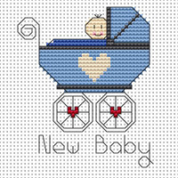 New Baby Boy card kit Cross Stitch Kit by Fat cat