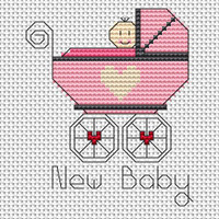 New Baby Girl card kit Cross Stitch Kit by Fat cat
