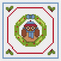 Owl Wreath card kit Cross Stitch Kit by Fat cat