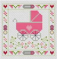 Pink Pram card kit Cross Stitch Kit by Fat cat
