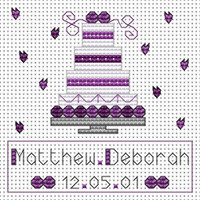 Purple Wedding Cake card kit Cross Stitch Kit by Fat cat