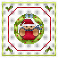 Robin Wreath card kit Cross Stitch Kit by Fat cat