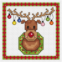 Rudolf Lights card kit Cross Stitch Kit by Fat cat