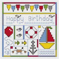 Seaside Birthday card kit Cross Stitch Kit by Fat cat
