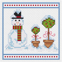 Snowman Topiary Blue card kit Cross Stitch Kit by Fat cat