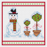 Snowman Topiary Red card kit Cross Stitch Kit by Fat cat