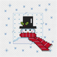 Snowy Snowman card kit Cross Stitch Kit by Fat cat
