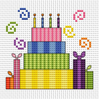 Striped cake card kit Cross Stitch Kit by Fat cat