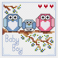 The Twitts new baby boy card kit Cross Stitch Kit by Fat cat