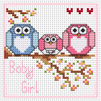 The Twitts new baby girl card kit Cross Stitch Kit by Fat cat